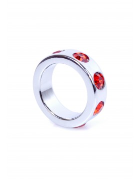 Pierścień-Metal Cock Ring with Red Diamonds Small