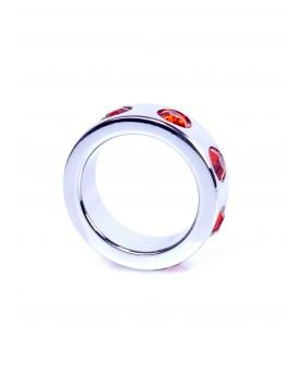 Pierścień-Metal Cock Ring with Red Diamonds Small
