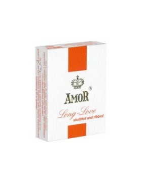 Prezerwatywy-Amor Long Love Studded & Ribbed 3pcs