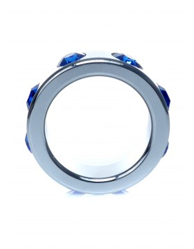 Pierścień-Metal Cock Ring with Dark Blue Diamonds Small