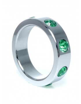 Pierścień-Metal Cock Ring with Green Diamonds Large