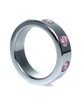 Pierścień-Metal Cock Ring with Rose Diamonds Large