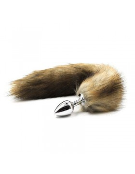 Plug anale con coda Long Fox Tail marrone
